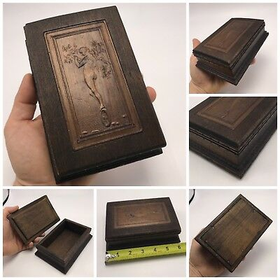 Antique Art Nouveau Wood Card Trinket Jewelry Box Fortuna's Wheel Nude Lady 1900
