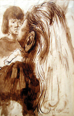 PAVEL TCHELITCHEW - 1934 Hand Signed Original Ink Drawing - The Tennis Players