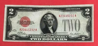 1928 Plain $2 RED US Deuce Choice VF! X232 Hard to Find! Old Currency