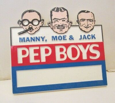 Pep Boys Auto Supply Stores Manny With Cigar Moe & Jack Employee Name Badge Pin