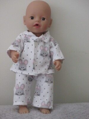 """Winter PJS suitable  13""""Little Baby Born  doll """" Mouse SPECIAL"""
