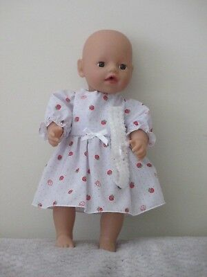 """PARTY DRESS & HEADBAND suitable  13""""Little Baby Born  doll """"White  & Strawberry"""