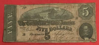 1864 $5 US Confederate States of America! Old US Paper Money Currency