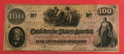 1862 $100 US Confederate States of America! VG/FINE! Old US Paper Currency