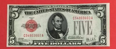 1928A $5 RED US Choice Uncirculated X660 Legal Tender! Very Nice! Old Currency