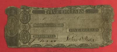 """1800s $5 US """"HALLOWELL GEORGIA"""" Currency! Old US Paper MOney Curre"""