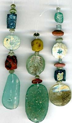 Roman Ancient Glass Beads~3 Pendants~Disks~Ovals~Squares~Patina & Encrustations