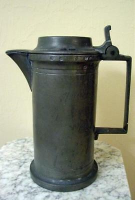 Antique French 1 Liter Pewter Lidded Tankard W/ Touch Marks