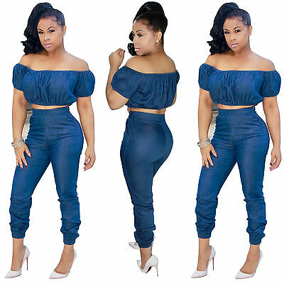 Sexy 2PC Set Bodycon Casual Demin Jumpsuit Rompers Summer Jumpsuit Womens