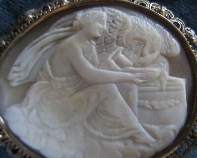Antique large cameo brooch