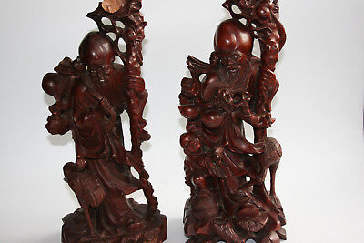 Pair of Large Chinese Wooden Craved Immortal & Child Crane Figurine Statue