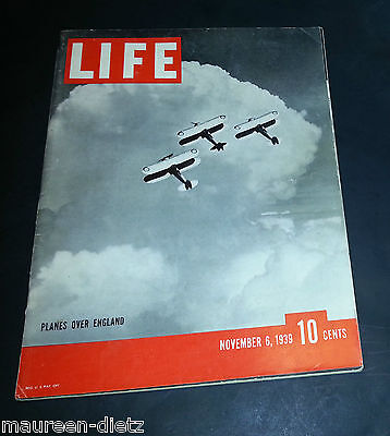 November 6, 1939 LIFE Magazine WWII 30s Advertising ads ad  FREE SHIPPING Nov 11