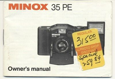 Minox 35 Pe Owner's Manual, Very Good Condition