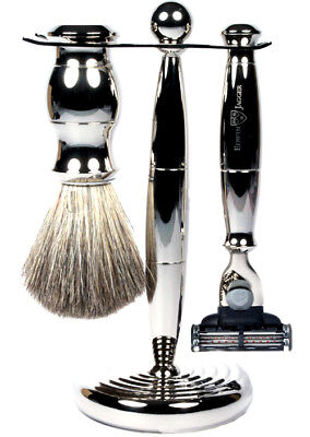 Edwin Jagger S81M35911 3-Piece Set-Razor-Nickel Plated-Pure Badger Brush-Stand