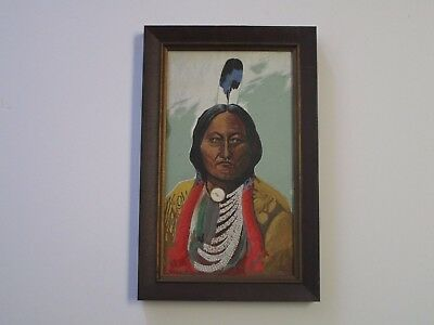Antique 19Th To 20Th Century Native American Indian Painting Portrait Chief Old