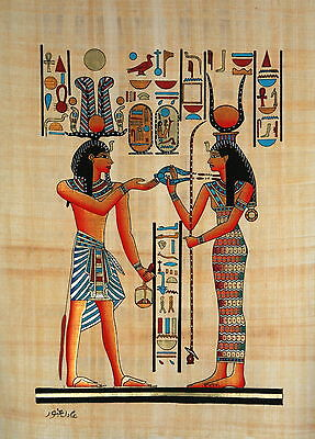 "Egyptian Papyrus - Hand Made - 12"" x 16"" Hathor Presenting Necklace to Ramses"