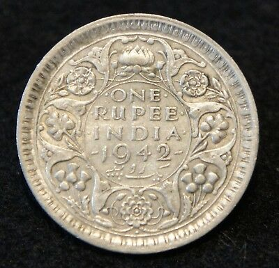 1942 India Rupee in VF Condition 50% SILVER  Very NICE Collectible!