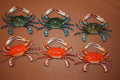 "Crab Shack Decor, Realistic Blue Crab Steamed Crab Display Decor, 6"", Lot of 6"