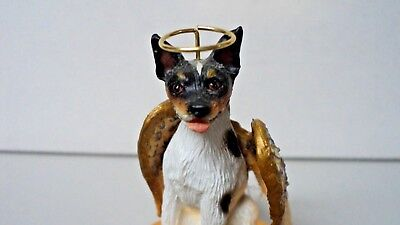 Rat Terrier Dog ANGEL Tiny One Ornament Figurine Statue 2""