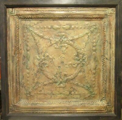 Great antique pressed tin ceiling panel in frame for very cool display!