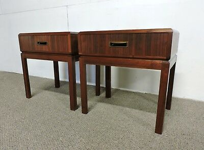 Pair of Mid Century Modern Walnut Wormley Style Nightstands End Tables