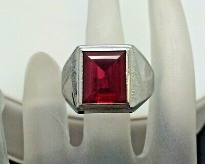 Gentleman's Art Deco 3.75 Ct Synthetic Ruby Signet Ring Size 11.25
