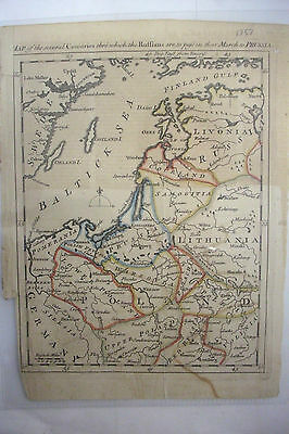 1757 Hand Tinted Map RUSSIAN MARCH TO PRUSSIA *Hand Laid Paper
