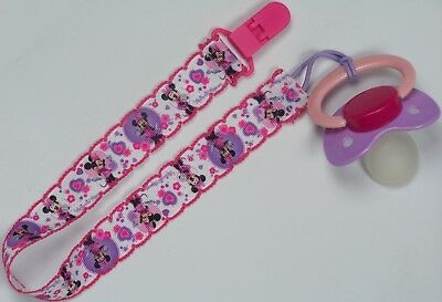 Extra long pacifier clip Minnie the Mouse