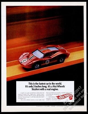 1970 Hot Wheels Sizzlers toy race car photo vintage print ad