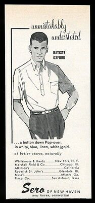 1961 Sero of New Haven men's Batiste Oxford shirt fashion vintage print ad