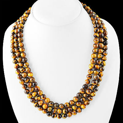 Excellent 635.00 Cts Natural 3 Line Golden Tiger Eye Round Beads Necklace (Dg)