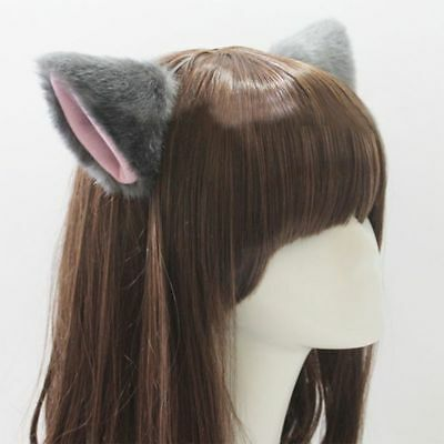 Cute Cat Ear Long Fur Ears Neko Costume Hair Clip Halloween Orecchiette Headwear