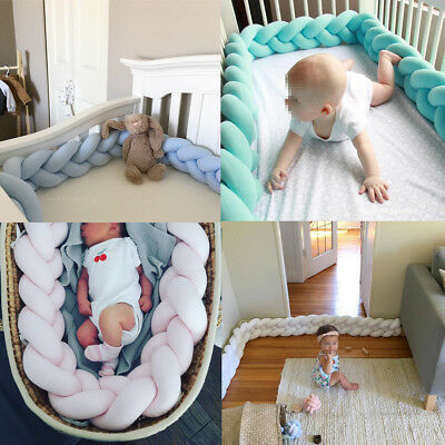 US 100CM Baby Infant Plush Crib Bumper Bed Bedding Cot Braid Pillow Protector