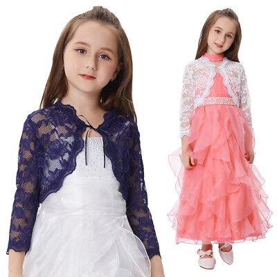 Girls Children Kid Cropped Bolero Shrug Tops Lace Flower Tie Front Cardigan Coat