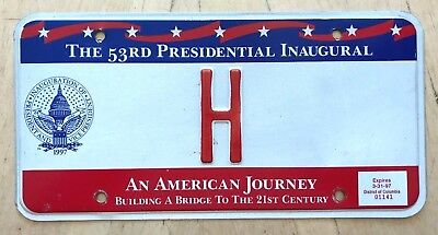 "1997 Wash Dc Presidential Inauguration License Plate "" H "" Hillary Single Letter"