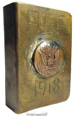 American AEF Brass Copper 1918 WW1 Trench Art Matchbox Holder