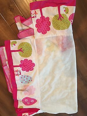 CIRCO Owl And Bird Crib DUST RUFFLE BED SKIRT Up We Go Pink Baby Girls