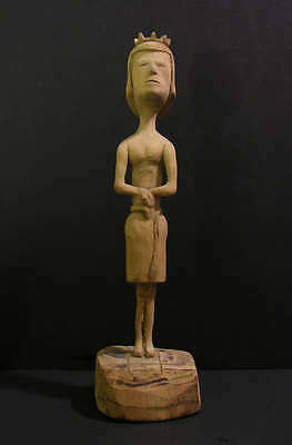 Folk Art Wood Carving Figure with Crown Skirt with Snake Anonymous Outsider Art