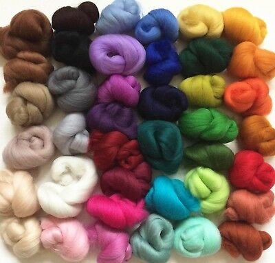Merino wool tops for needle & wet felting  - VARIETY PACK - 40 colours