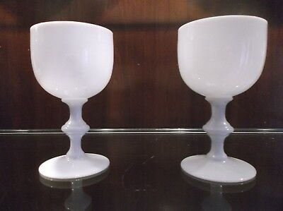 """2 Vintage French Portieux Vallerysthal White Opaline Milk Glass Goblets~5 1/4"""""""