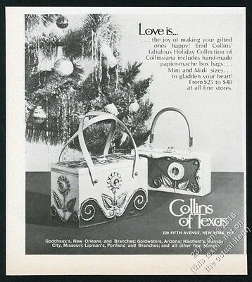 1969 Enid Collins flower box purse bag handbag 2 styles photo vintage print ad