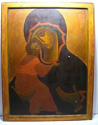 LARGE 1880s RUSSIAN ORTHODOX ICON PAINTING OUR LADY OF VLADIMIR RUBLEV VERSION