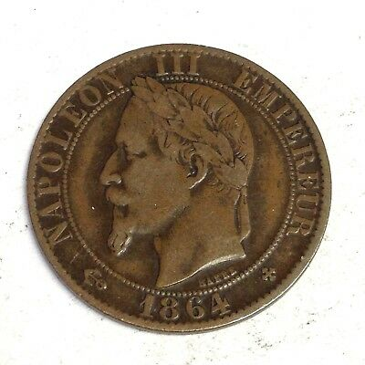 1864 BB French Empire 5 Centimes, Napoleon III France coin, VF