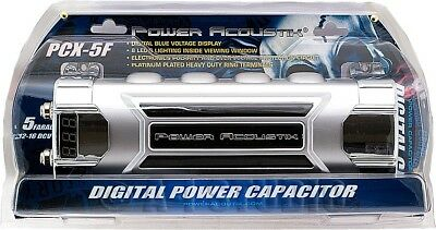 Power Acoustik Pcx-5F Car Audio 5 Farad/5F Digital Power Capacitor W/led Display