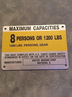 United Marine Corp Boat Capacity Plate~Tag 10 Person or 1500 Lbs~300 HP