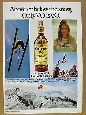 1975 sexy woman in Aspen t-shirt photo Seagram's VO whiskey vintage print Ad