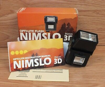 Genuine Nimslo Opti-Lite Small Black Flash Unit Only For 35mm 3D Camera **NOS**