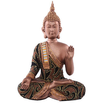 Decorative Fabric bronze Effect seated Thai Buddha Sitting Hand Up Medium