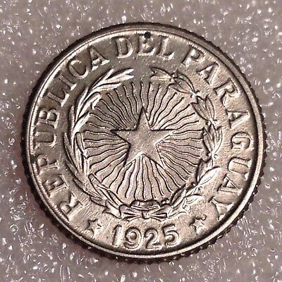 Paraguay 1 Peso 1925 Copper-Nickel Great Coin!