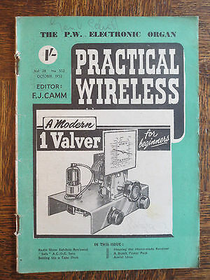 Practical Wireless Magazine October 1952 #552 Modern 1 Valver for Beginners OLD